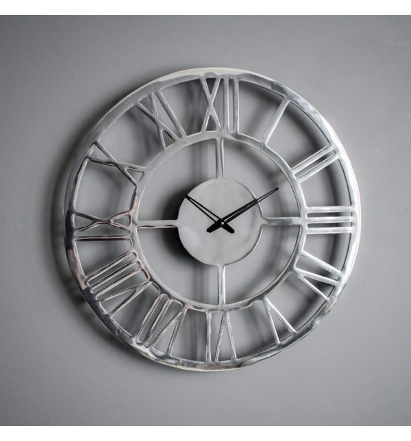 Miami large polished aluminium roman numeral skeleton clock W58.5 D4.5 H58.5