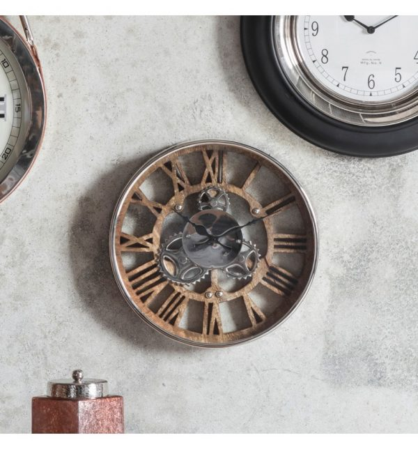 New York Wooden Cog Wall Clock W34.5 D5 H34.5