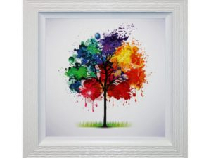 Rainbow Seasons - Framed Seasonal Abstract Tree Liquid Art 94 x 94