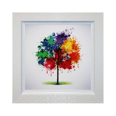 Rainbow Seasons - Framed Seasonal Abstract Tree Liquid Art 94 x 94