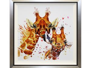 Salut - Framed Abstract Giraffe Liquid Art 87 x 87cm