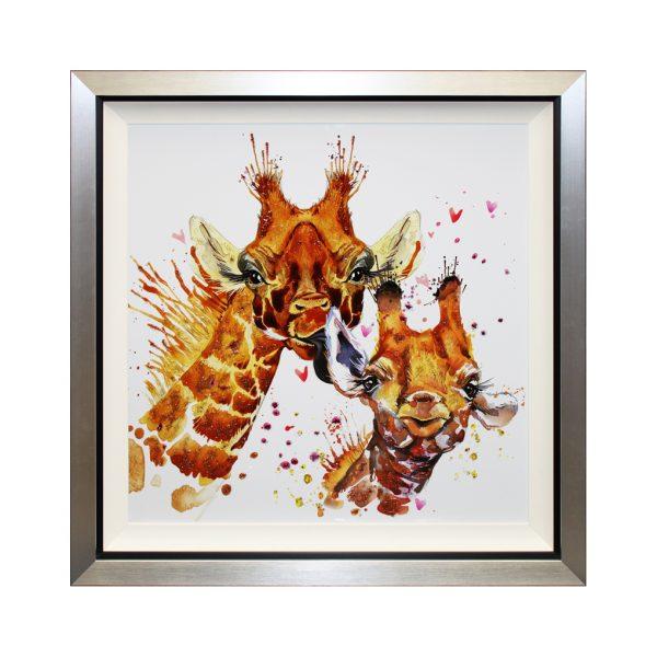 Salut - Framed Abstract Giraffe Liquid Art 87 x 87cm