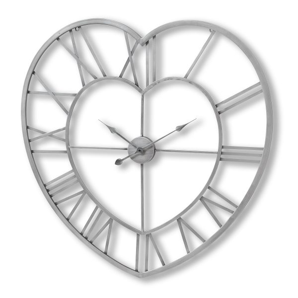 Skeleton Love Heart Silver Wall Clock W89 D4 H89