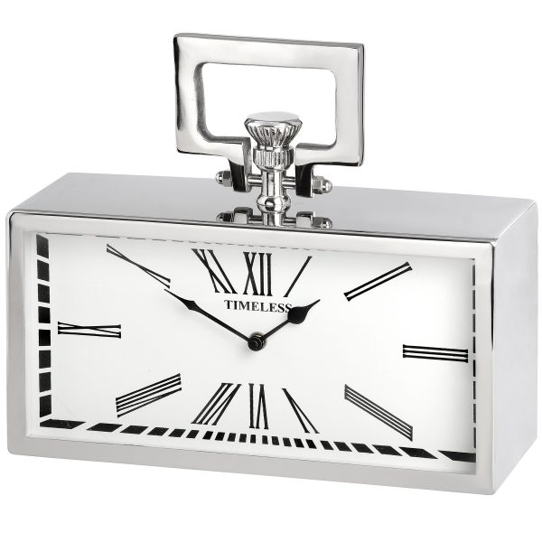 Timeless oblong pocket watch mantel clock in silver chrome with Roman numerals W31 D9 H26