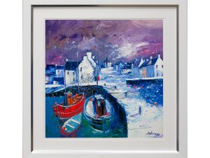 Winter Harbour Seaside Framed Artwork W83 x H83