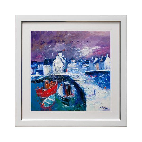 Winter Harbour Seaside Framed Artwork W83 x H83
