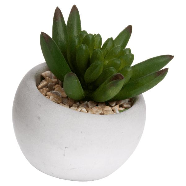 faux succulent in white pot