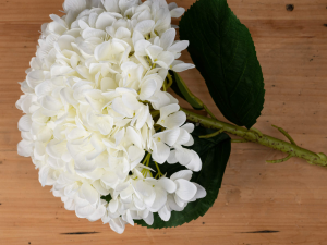 large faux white hydrangea flower