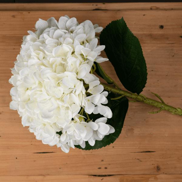 large faux white hydrangea flower