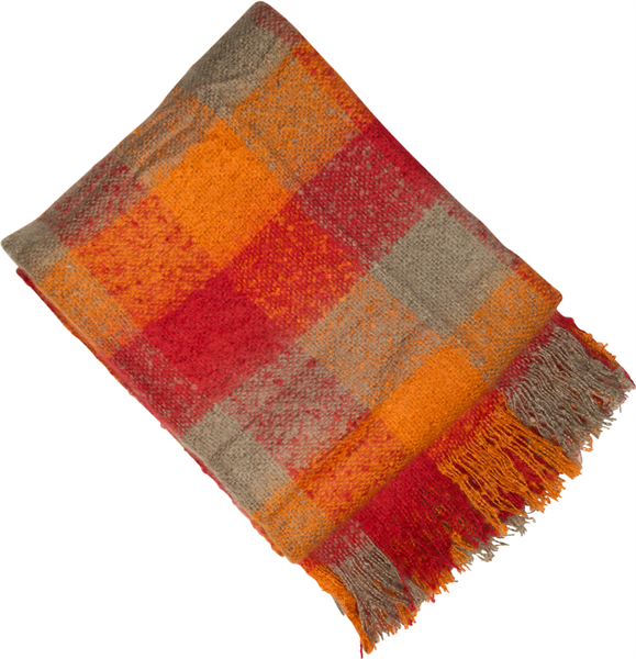 Autumnal red and orange check throw 150x180cm