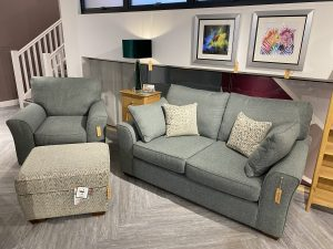 Flapjack medium sofa, chair and storage footstool