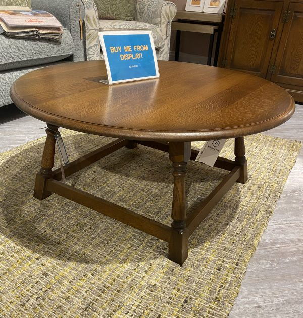old charm round wooden oak coffee table