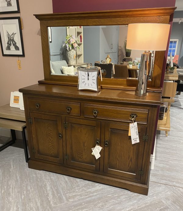 old charm wooden oak sideboard and glass reflective mirror