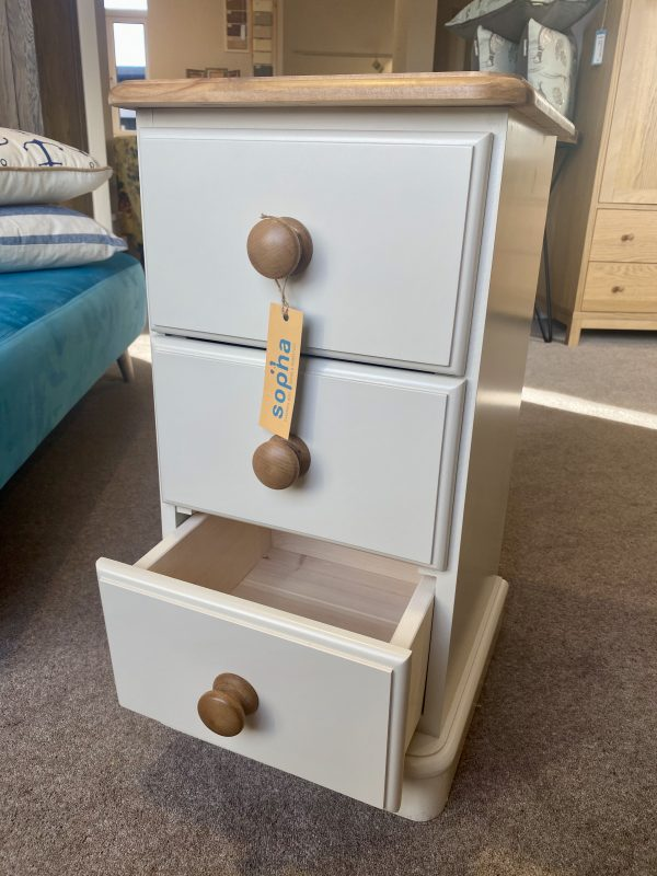 cinnamon 3 drawer narrow bedside table painted in trevi with oak top