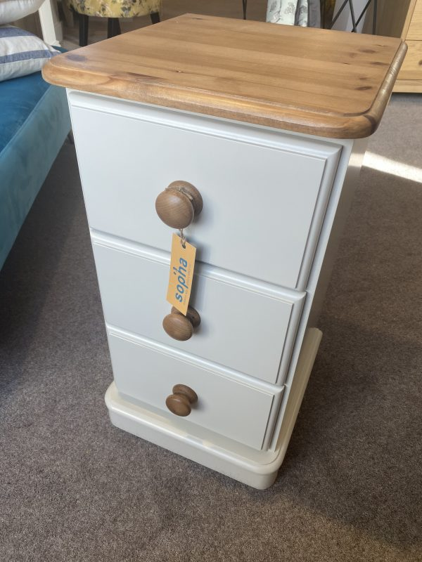 cinnamon 3 drawer narrow bedside table