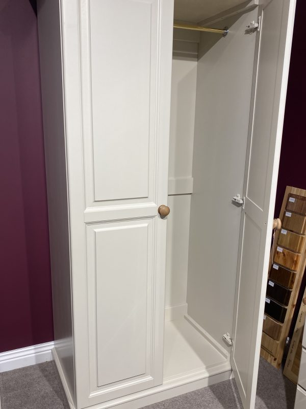 cinnamon 2 door full length wardrobe painted in trevi with natural top
