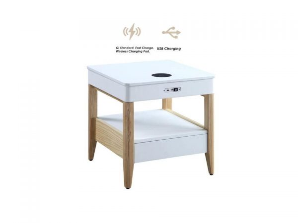 Zest Mandarin Bedside Table with Built-In Charger