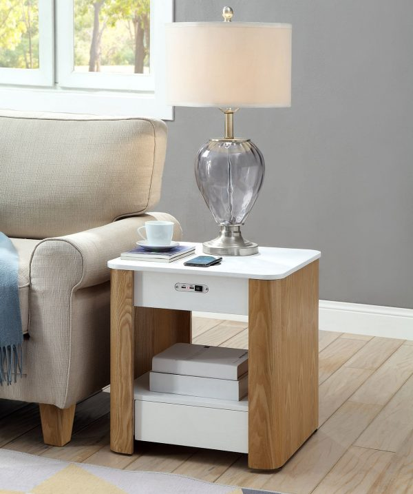 Zest Tangerine Bedside Table with Built-In Charger and Speakers
