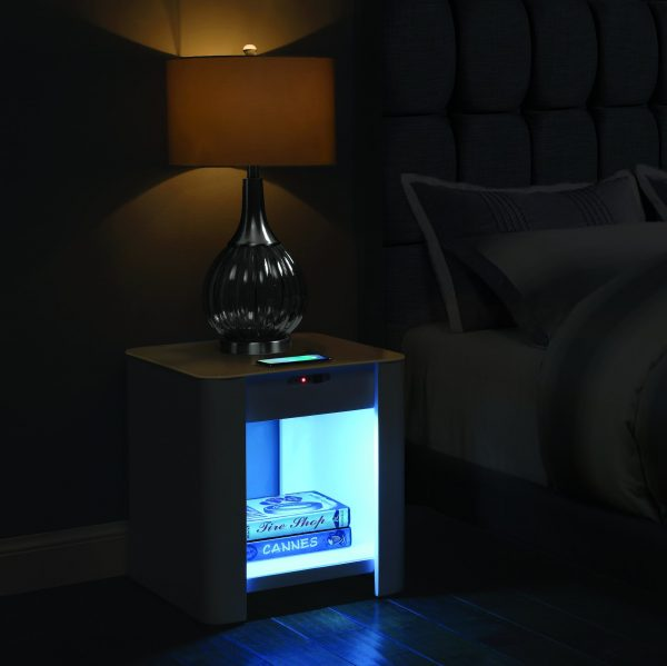 Zest Pomelo Bedside Table with Built-In Charger