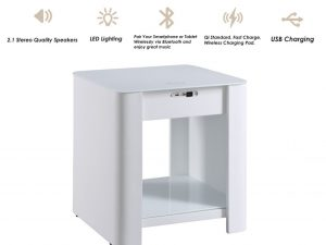 Zest Pomelo Bedside Table with Built-In Charger and Speakers