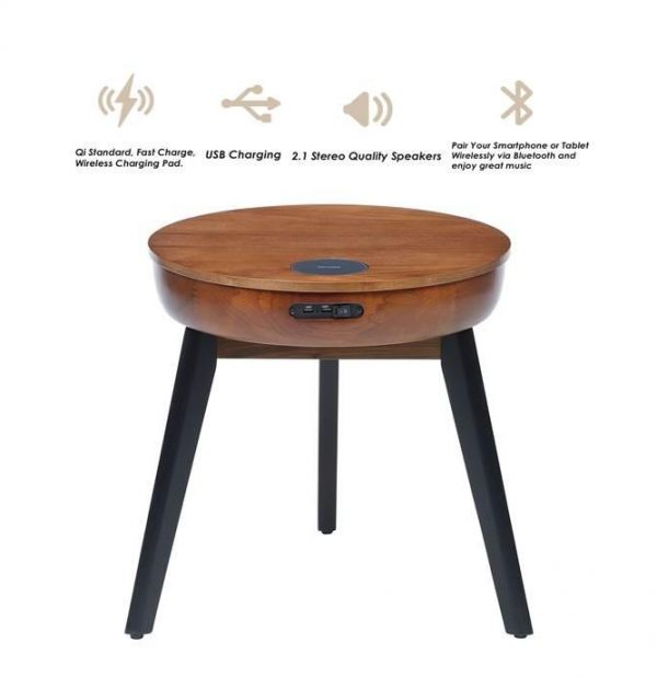 Lemon zest walnut lamp table with built in charger and speakers