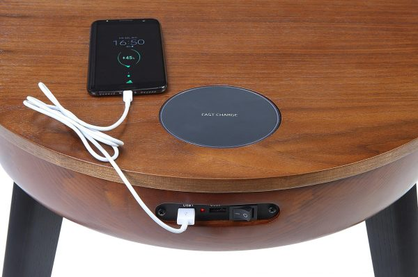 Lemon zest walnut lamp table with built in charger and speakers usb charger