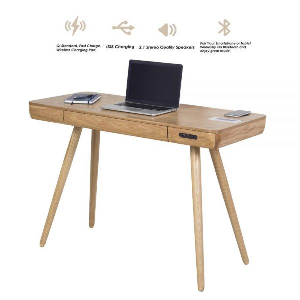 Zest Clementine Desk With Built-In Charger, USB & Speakers