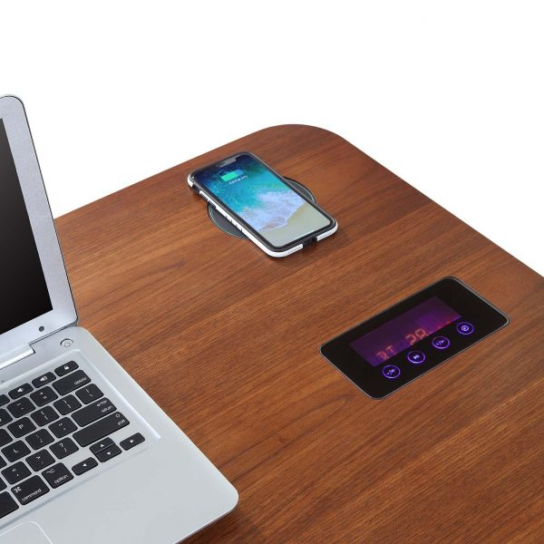 Zest Lime Desk with Built-In Charger and Speakers Walnut