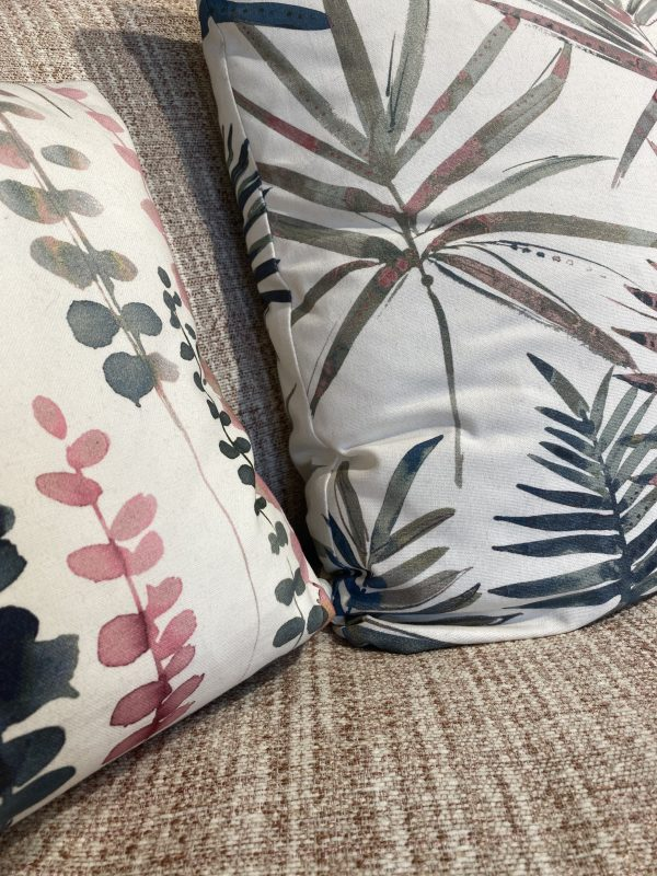 Biscotti Extra large pillow back sofa in Fabric Grade C Ashcroft Blush and Scatter Fabric 2 Santa Maria Flamingo Scatter Fabric 3 (pillow back only) Topanga Flamingo