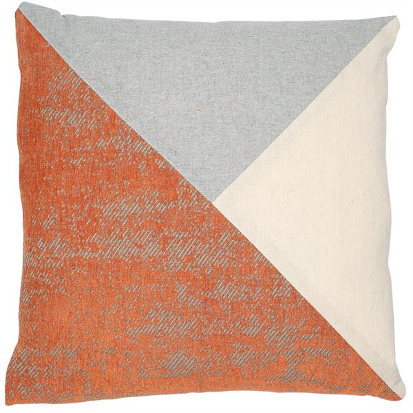 Terracotta, grey and cream Triangle patchwork cushion