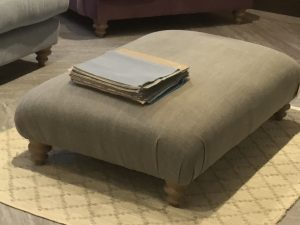 Meringue Large Footstool in linen mix pigeon