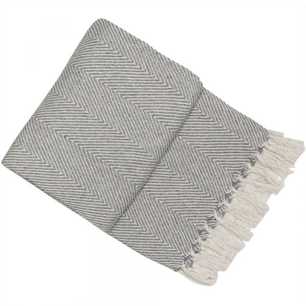 Silver Chevron Throw 130x180
