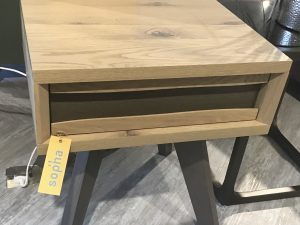 Pepper Aged Oak Lamp Table with drawer