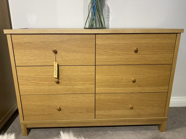 thyme oak 6 drawer wide chest
