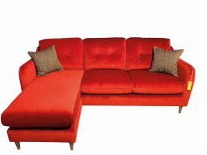 Macaroon Chaise Sofa in Sunny Berry with Simine Crimson