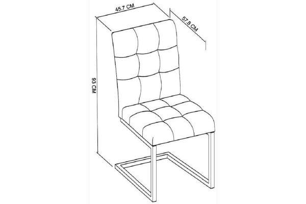 Tarragon Chair - Cantilever Chairs - Dark Grey Fabric - Dimensions
