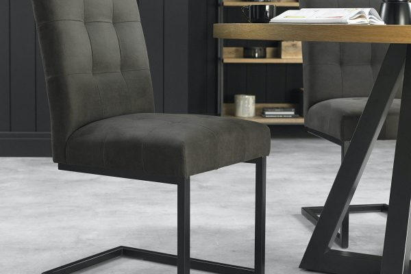 Tarragon Chair - Cantilever Chairs - Dark Grey Fabric - Roomset