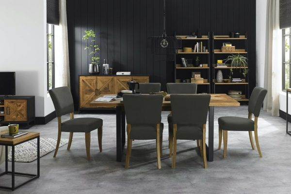 Tarragon Dining Table - 6-10 Seater - Roomset with Grey Chairs