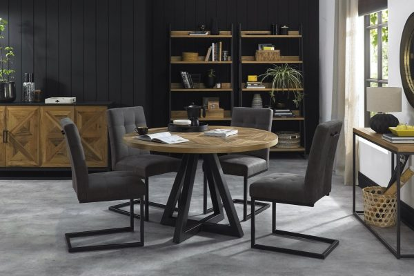 Tarragon Dining Table - Circular - Roomset with Cantilever Chairs