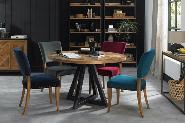 Tarragon Dining Table - Circular with coloured chairs