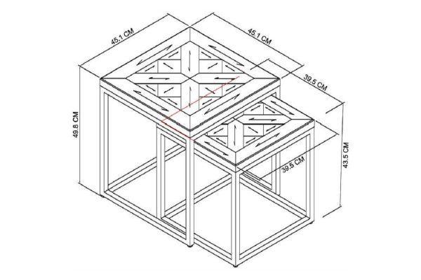 Tarragon Nest of Tables - Dimensions