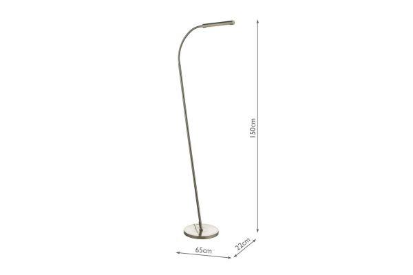 Akiko Satin Chrome LED Floor Lamp Measurements