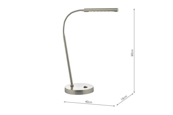 Akiko Satin Chrome LED Task Lamp Measurements