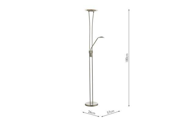 Akiro Satin Nickel LED Floor Lamp Measurements