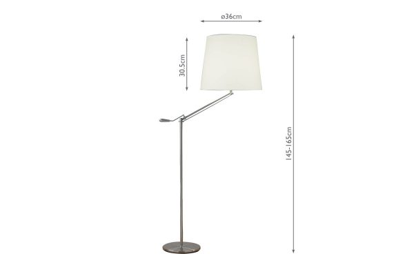 Albus Satin Chrome Floor Lamp with Shade Dimensions