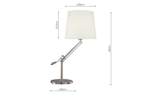 Albus Satin Chrome Table Lamp with Shade Measurements
