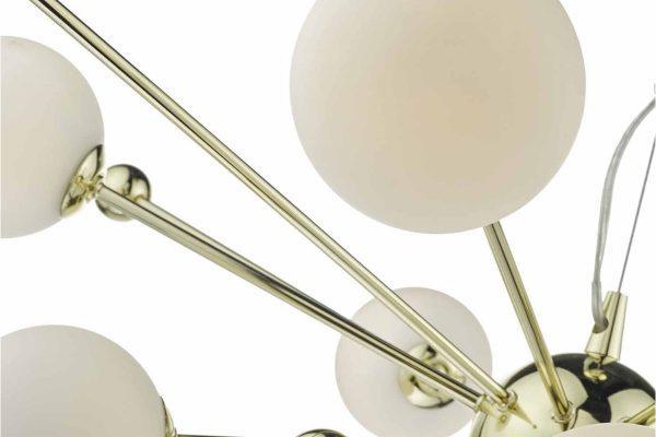 Anwar Gold & Opal Glass 10 Light Pendant - Close