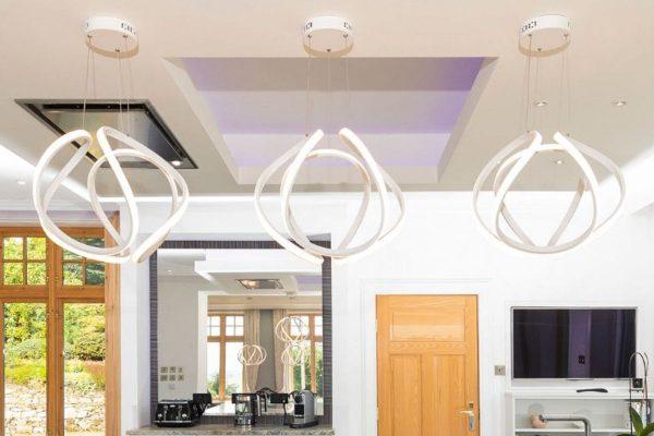 Apollo Large White LED Pendant Lamp Lifestyle Kitchen