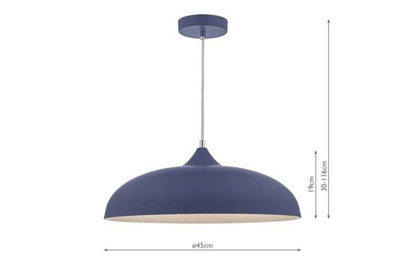 Avira Blue & White 1 Light Pendant Dimensions