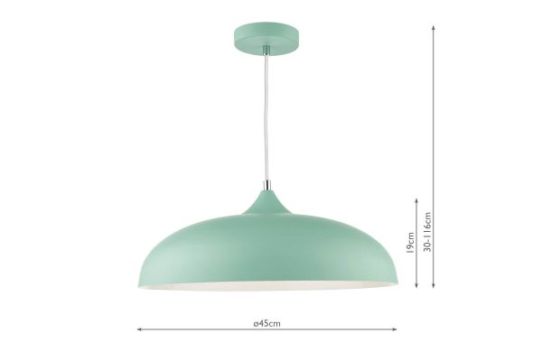 Avira Matt Pale Green 1 Light Pendant Dimensions